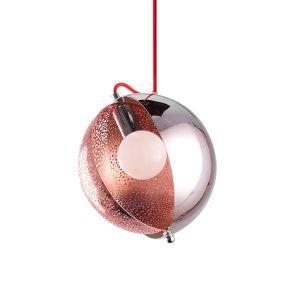 Suspension décoratifve D25 cm or rose pour salon café salle à manger