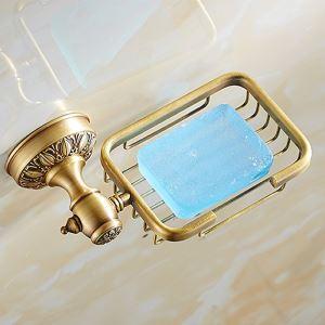 Porte-savon en laiton brossé rétro pour salle de bain