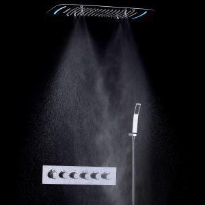 Colonne de douche encastrée thermostatique pour salle de bains, moderne chrome