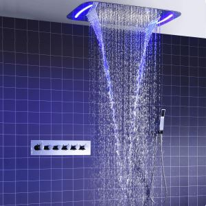 Colonne de douche thermostatique LED multifonctionnelle pour salle de bains, 2 poignées 3 trous