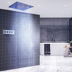 Colonne de douche thermostatique LED avec 2 poignées pour salle de bains