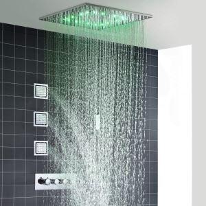 Colonne de douche thermostatique moderne à LED, style encastré