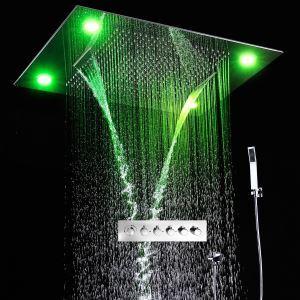 Colonne de douche thermostatique LED multifonctionnelle pour salle de bains