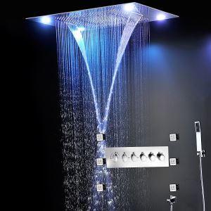 Colonne de douche thermostatique LED pour salle de bains, corps chromé