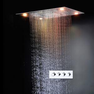 Colonne de douche froide chaude encastrée LED multifonctionnelle pour salle de bains