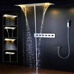 Colonne de douche encastrée style thermostatique LED blanc chaud pour salle de bains