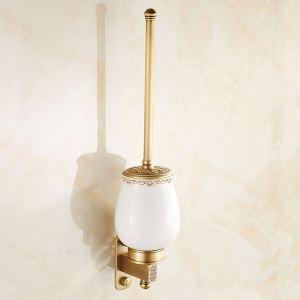 Porte-brosse à toilette en cuivre antique style européen pour salle de bains