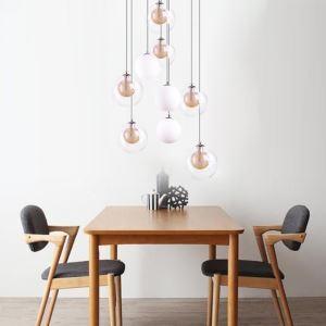 Suspension moderne à 13 lumières abat-jour en verre pour salon café restaurant