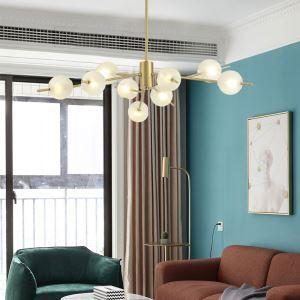 Lampe suspendue moderne à LED abat-jour en verre pour salle d'étude