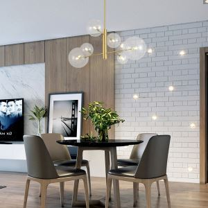 Suspension moderne en métal verre pour chambre à coucher, 6/8 lampes