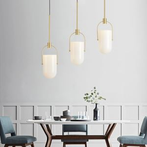 Suspension LED créative à la forme capsule pour salon chambre, abat-jour en verre