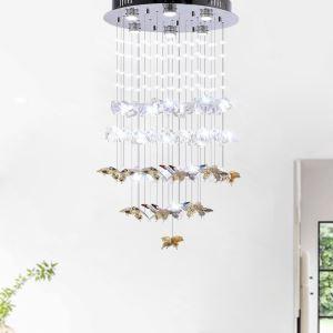 Suspension LED en verre design créatif papillon suspendu pour salon chambre