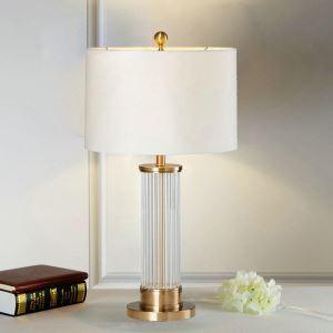Lampe à poser en fer verre abat-jour de tissu H72cm cylindre transparent pour salon chambre