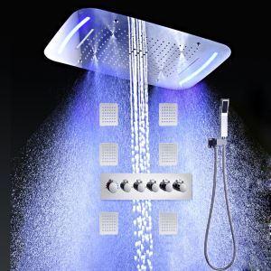 Colonne de douche thermostatique LED avec douchette à main pour salle de bains