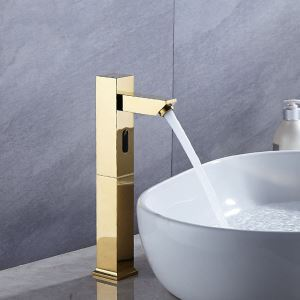 Robinet de lavabo intelligent sans contact à capteur infrarouge pour salle de bains, Or / Chrome