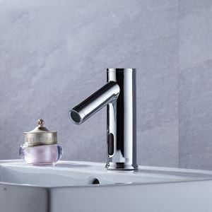 Robinet de lavabo chromé à capteur infrarouge intelligent pour salle de bains