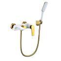 Mitigeur Robinet de douche blanc style moderne simple pour salle de bains 3 trous poignée d'or