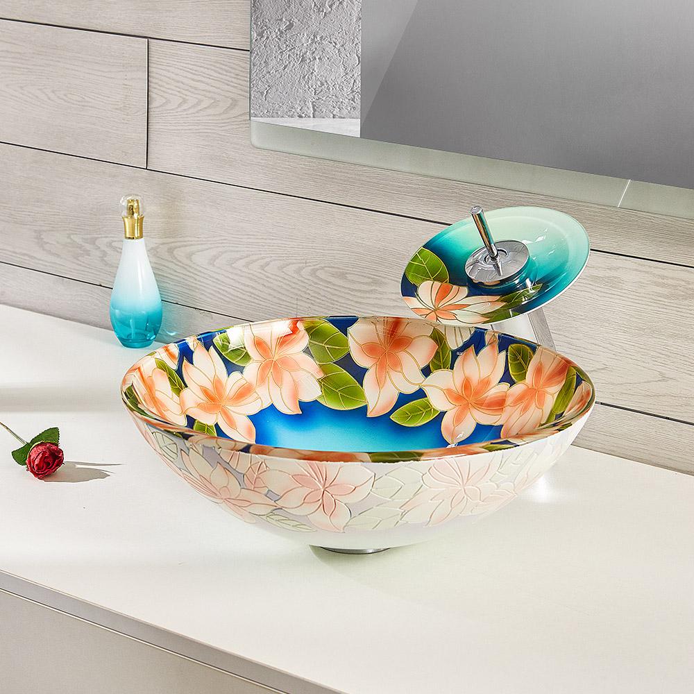avec Robinet Cascade /à poser la salle de bain Argent 2 HomeLava Lavabo Vasque en Verre Tremp/é