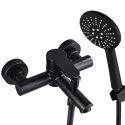 Robinet de baignoire noir encastré en acier inox pour salle de bains