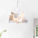 Lustre Blanc suspension design L45cm acrylique luminaire cuisine salon salle pas cher