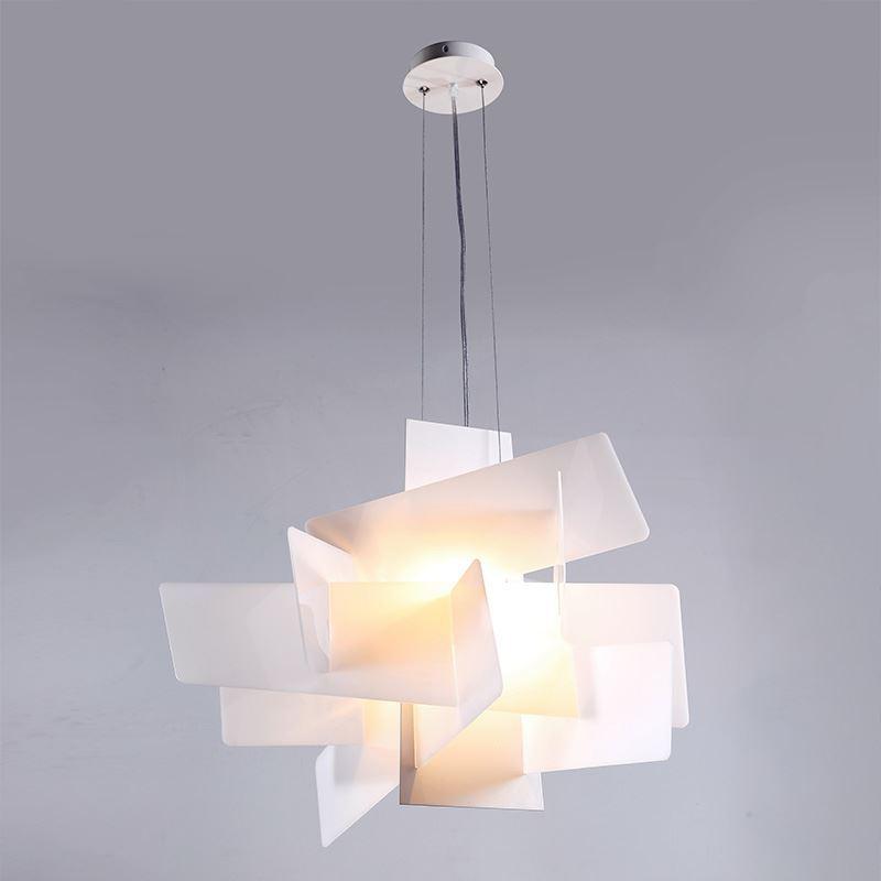 Lustre Blanc Suspension Design L45cm Acrylique Luminaire Cuisine