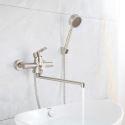 Robinet de baignoire en acier inox brossé avec douchette à main pour salle de bains