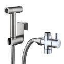 Robinet de bidet en acier inox brossé pour salle de bains, interrupteur à pression