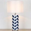 Lampe à poser en céramique avec motif de vagues bleues et blanches pour chambre