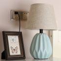 Lampe à poser en céramique H41cm avec commutateur à bouton pour chambre à coucher