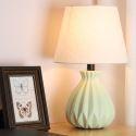 Lampe à poser chic en céramique abat-jour en tissu D25cm pour chambre à coucher