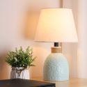 Lampe à poser contemporain en céramique abat-jour en tissu H41cm pour chambre à coucher