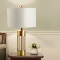 Lampe à poser moderne or blanc corps en fer abat-jour en tissu pour chambre
