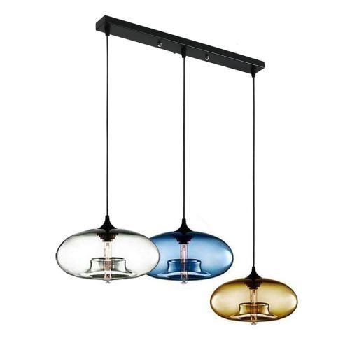 Lustre A 3 Lampes Suspension En Verre Moderne Luminaire Bulle Pour