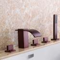 Robinet de baignoire cascade à 5 trous en laiton massif, bronze huilé