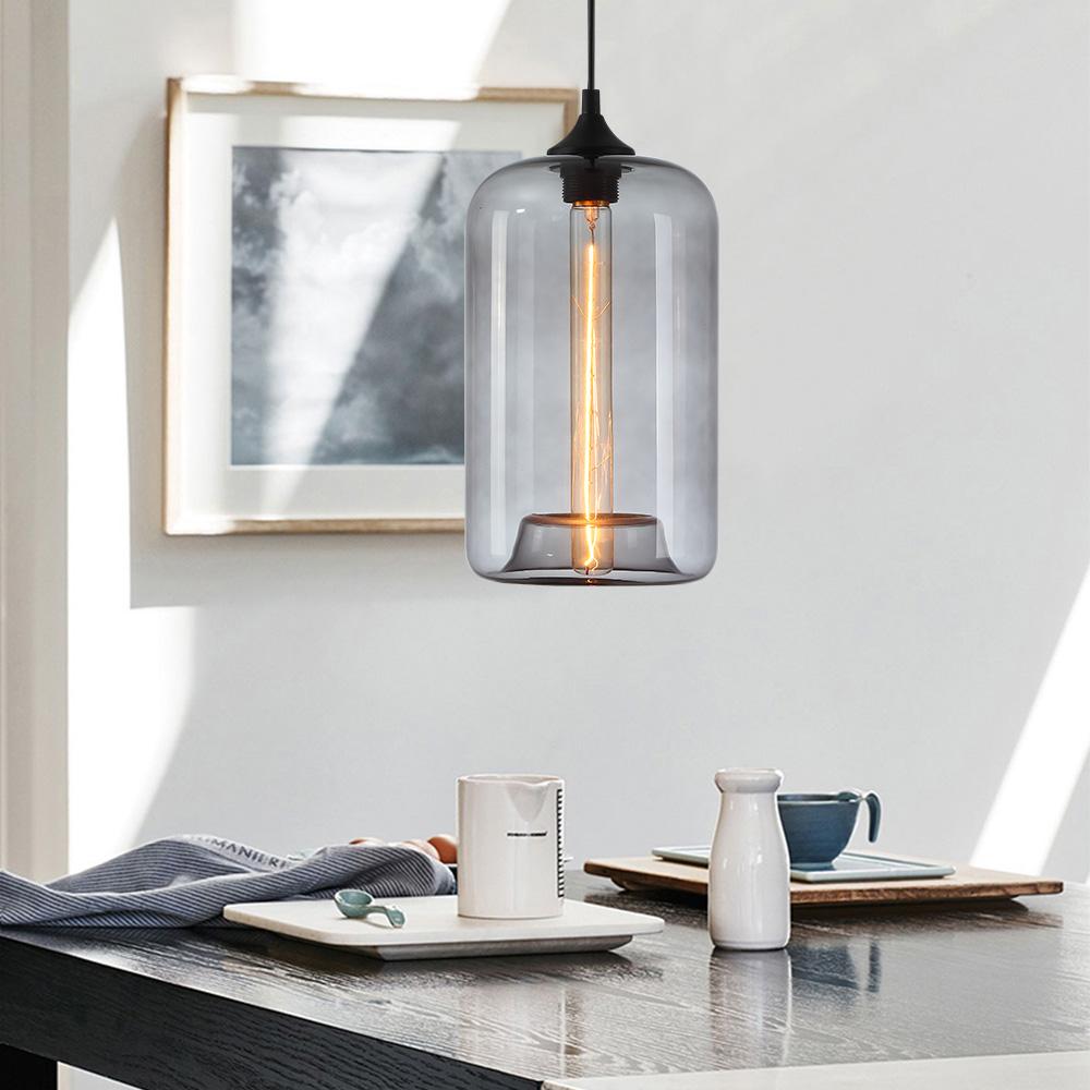Suspension Verre Transparent H34cm Lampe Bulle Luminaire Design