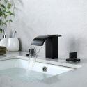 Mitigeur de lavabo cascade noir 2 poignées 3 trous pour salle de bains