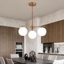 Suspension moderne abat-jour en verre blanc à 3/6 lampes pour salon restaurant