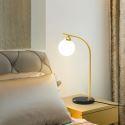 Lampe de table LED en fer verre H50cm pour salle d'étude, modèle or / noir