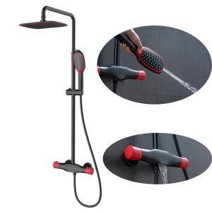Colonne de douche noire rouge pommeau haut en ABS pour salle de bains