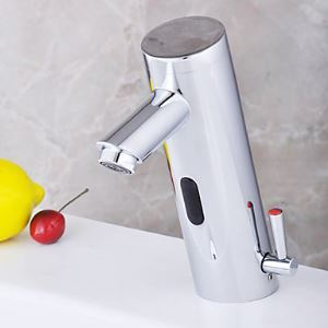 Robinet d'évier mitigeur chromé avec capteur automatique de l'hydroélectricité salle de bain
