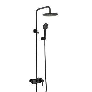 Colonne de douche moderne pour salle de bains Noir/Or brossé/Gris pistolet