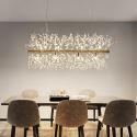 Suspension LED or en métal cristal à 12 lampes D94cm pour salons chambre