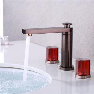 Robinet de lavabo moderne rouge marron à 2 poignées pour salle de bains