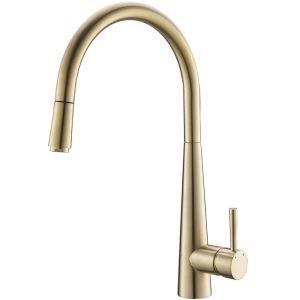 Mitigeur de cuisine moderne or brossé H41cm pour salle de bains