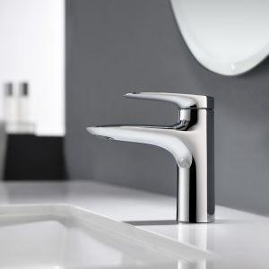 Robinet de lavabo poignée simple pour salle de bains, Noir/Chrome/Gris pistolet/Or brossé