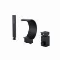 Robinet de baignoire Noir cascade poignée simple avec douchette pour salle de bains