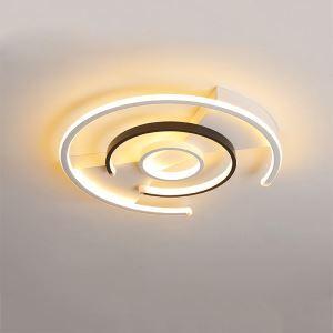 Plafonnier LED incurvé blanc noir D50cm pour chambre salle d'étude