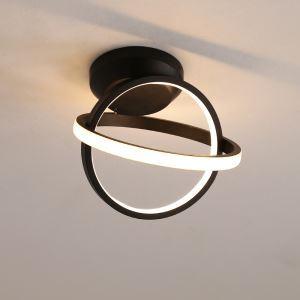 Plafonnier LED à double anneau croisé pour salon chambre à coucher Noir / Blanc