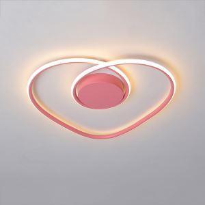Plafonnier rose LED design en forme cœur pour salon chambre à coucher