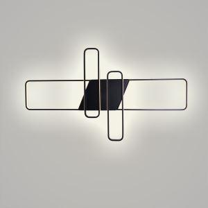 Plafonnier LED Noir en aluminium acrylique pour bureau salon chambre, S/L